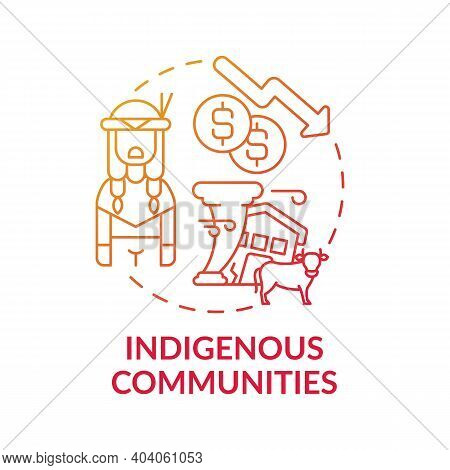 Indigenous Community Concept Icon. Climate Change Impact Idea Thin Line Illustration. Culturally Dis