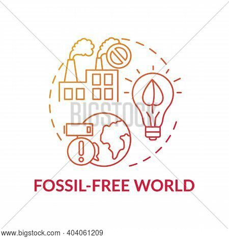 Fossil-free World Concept Icon. Climate Justice Thin Line Illustration. Vector Isolated Outline Rgb