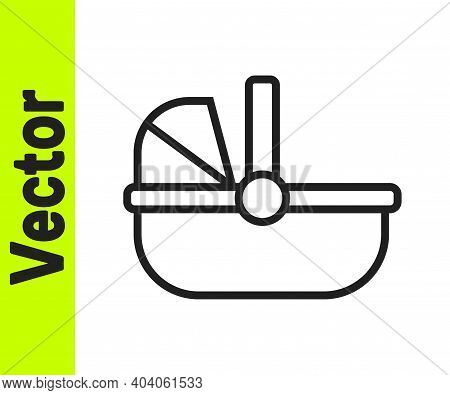 Black Line Baby Stroller Icon Isolated On White Background. Baby Carriage, Buggy, Pram, Stroller, Wh