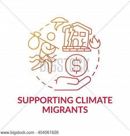 Supporting Climate Migrants Concept Icon. Climate Change Idea Thin Line Illustration. World Tranform
