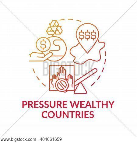Pressure Wealthy Country Concept Icon. Financial Pressure Idea Thin Line Illustration. Nature Protec