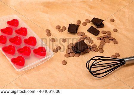 Handmade Valentines Day Dessert. Diy Making Chocolate Candy, Heart Shaped Mold. Chocolatier Sweet Sh