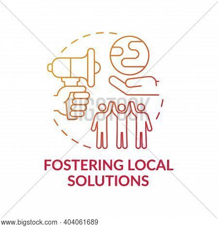 Fostering Local Ecological Solution Concept Icon. Earth Protection Idea Thin Line Illustration. Clim