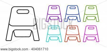 Black Line Baby Potty Icon Isolated On White Background. Chamber Pot. Set Icons Colorful. Vector