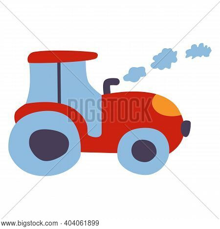 Red Tractor With Blue Windows And Wheels. Yellow Headlights. Smoke Clouds From Exhaust Pipe. Cartoon