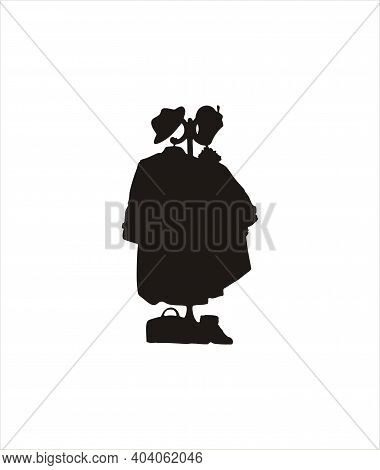 Black Silhouette Of A Coat Rack With Outerwear And Accessories. Coats, Shoes, Hats And Bag. Vector I