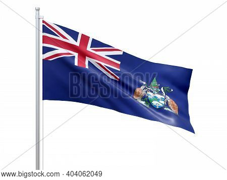 Ascension Island (british Overseas Territory) Flag Waving On White Background, Close Up, Isolated. 3