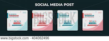 Social Media Post Design. Set Design Of Social Media Advertisement With White Background. Good Templ
