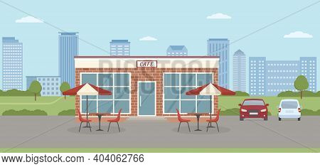 Cafe Building With Parking Lot On City Background. Urban Landscape. Flat Style, Vector Illustration.