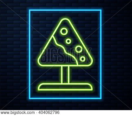 Glowing Neon Line Road Sign Avalanches Icon Isolated On Brick Wall Background. Snowslide Or Snowslip