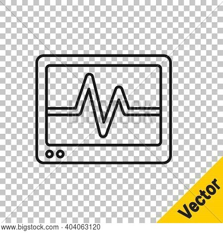 Black Line Computer Monitor With Cardiogram Icon Isolated On Transparent Background. Monitoring Icon