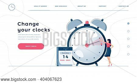 Daylight Saving Time Homepage Template. Woman Sets The Clocks Forward By An Hour, As Dst Time Begins