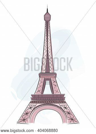 Eiffel Tower In Hand Drawn Style, Symbol Of Paris. Vector Illustration.