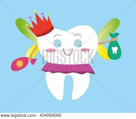 Tooth Fairy In A Skirt And With A Crown Holds A Bag Of Teeth And Coins. The Tooth Fairy Collects The