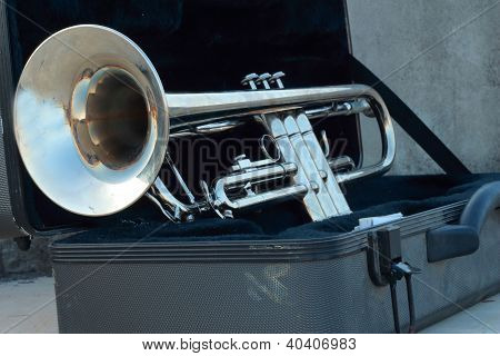 Silver trumpet in open  the black box poster
