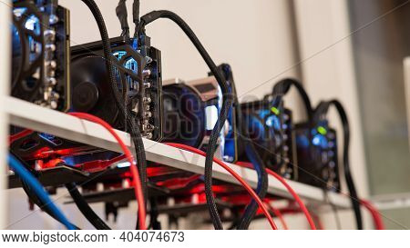 Five Crypto Currency Graphic Cards Mining Rig In A Conceptual Image Of Modern Technology And Earning