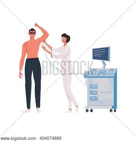 Man At Procedure Of Armpit Laser Epilation Flat Vector Illustration