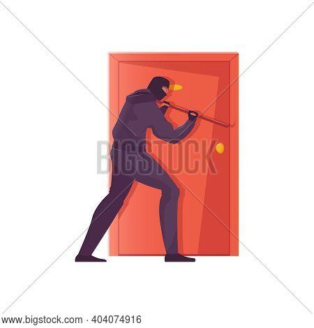 Burglar In Black Mask Trying To Hack Door Flat Vector Illustration