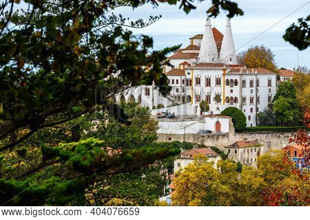 Sintra, Portugal - October 28, 2020: Architectural Detail Of The National Palace Of Sintra, Also Cal