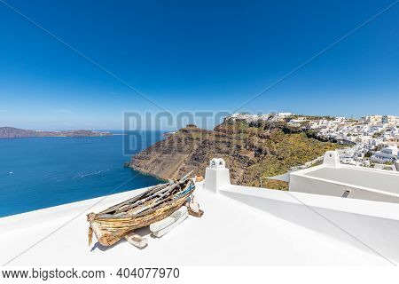 White Architecture On Santorini Island, Greece. Panoramic View Sunny Blue Sky. Famous Travel Destina