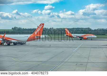 Vienna, Austria, 07.03.2019: Easyjet Europe Airbus A320.easyjet Airline Company Limited, Styled As E