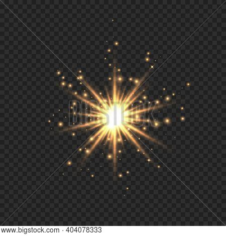 Star Burst With Sparkles. Golden Light Flare Effect With Stars, Sparkles And Glitter Isolated On Tra
