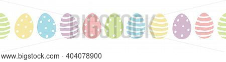 Easter Egg Seamless Border Vector With Cute Colourful Painted Easter Eggs In Pastel Colors With Dots