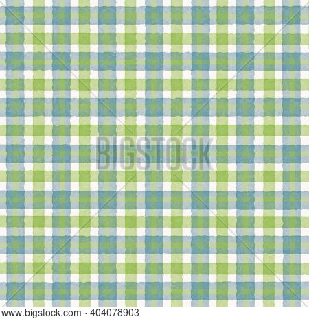 Turquoise White Olive Green Vintage Checkered Background With Blur, Gradient And Grunge Texture. Cla
