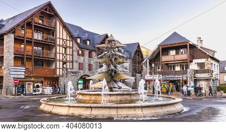 Fountain In The City Center Frozen In Saint Lary Soulan