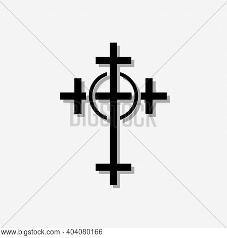 Christian Orthodox Cross. Illustration Of A Christian Orthodox Cross On A Black Background