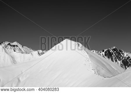 Snowy Off-piste Slope And Clear Sky At Nice Winter Day. Caucasus Mountains, Georgia, Region Gudauri.