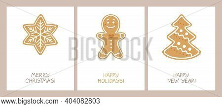 Set Of Holiday Cards With A Christmas Homemade Cookies With Glaze: Snowflake, Gingerbread Man, Spruc