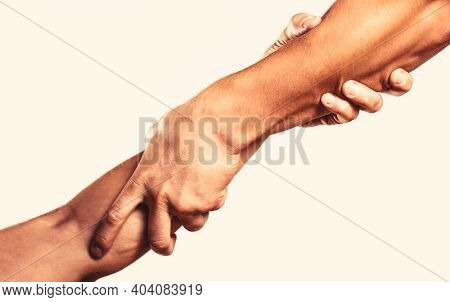 Rescue, Helping Gesture Or Hands. Helping Hand Concept, Support. Helping Hand Outstretched, Isolated
