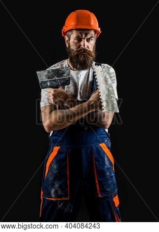 Bearded Builder Isolated On Black Background. Bearded Man Worker With Beard, Building Helmet, Hard H