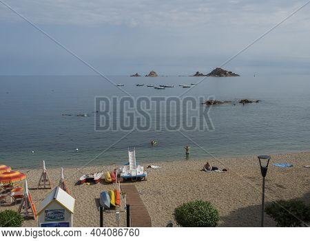 Santa Maria Navarrese, Sardinia, Italy, September 10, 2020: Top View Of Spiaggia Di Santa Maria Nava
