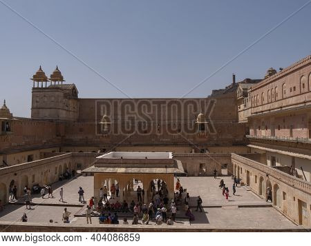 Jaipur, India - March 22, 2019: Courtyard At Amber Fort