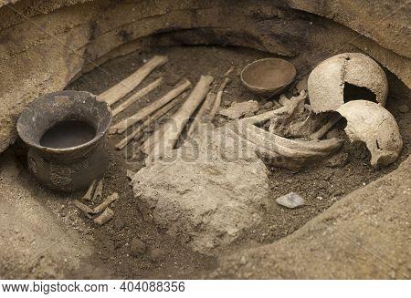 Alcala De Henares, Spain - Oct 10th, 2020: Burial With Bell-shaped Trousseau. Found In San Fernando