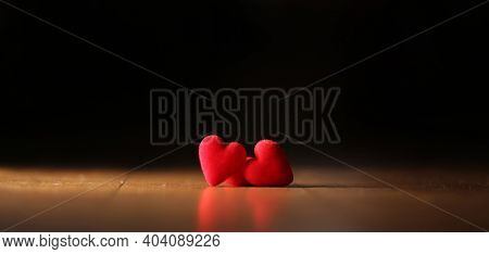 Decorative Red Heart On A Wooden Background, Banner For Valentine's Day. Valentine's Day Red Heart O