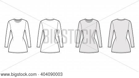 T-shirt Dress Technical Fashion Illustration With Crew Neck, Long Sleeves, Mini Length, Slim Fit, Pe