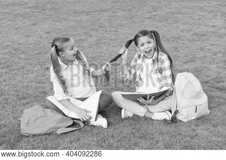 Suffer From Bulling. Small Girl Play And Study On School Break. Happy Childrens Day. Sisterhood And