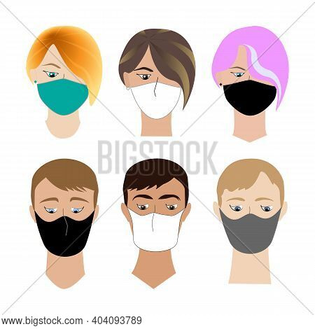 Boy And Girl Heads Collection With Face Covered Medical Mask. Flat Vector Concept, Wearing Protectiv