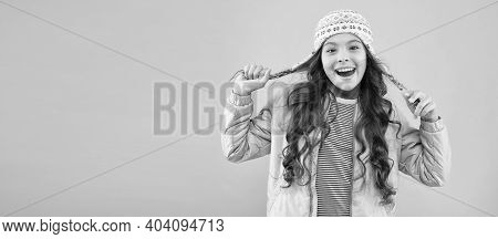 Adorable Small Child Wear Knitted Accessory. Cute Little Girl With Fashion Accessory Pink Background