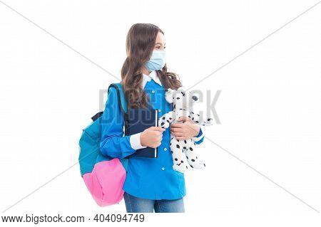Thinking About Homeschooling. Little Child In Face Mask Hold Toy. Homeschooling During Covid-19 Pand