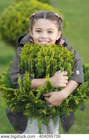 Spring Fashion For Little Girl. Parks And Outdoor. Autumn Weather. Cypress Tree. Happy Child With Th