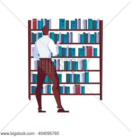 Man Choosing Book At Bookshop Flat Vector Illustration