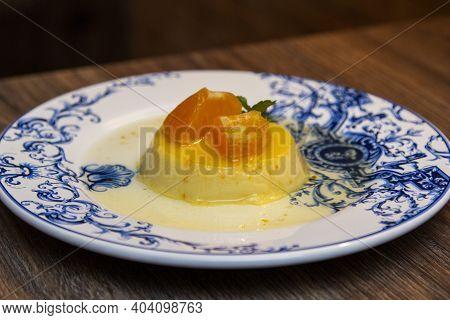 Tangerine Pudding - Caramelized Pudding Dessert With Tangerine
