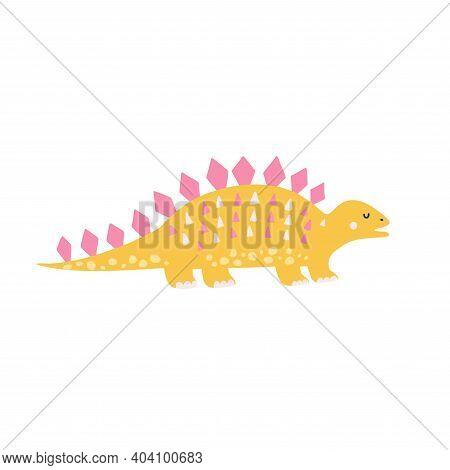Cute Yellow Stegosaurus In Childish Style. Funny Dinosaur Print