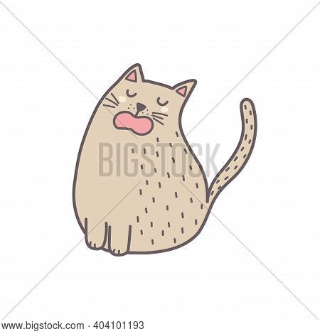 Cute Fat Cat Sitting And Meowing Isolated Element. Feline Character