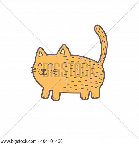 Funny Ginger Fat Cat. Cute Feline Character Silhouette. Kitten Isolated Element