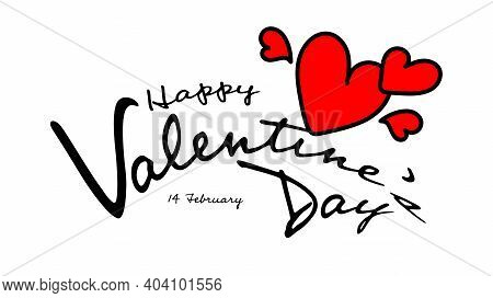 Happy Valentine's Day Typography With Red Heart Hand Drawn Vector Illustration, Valentines Day Text